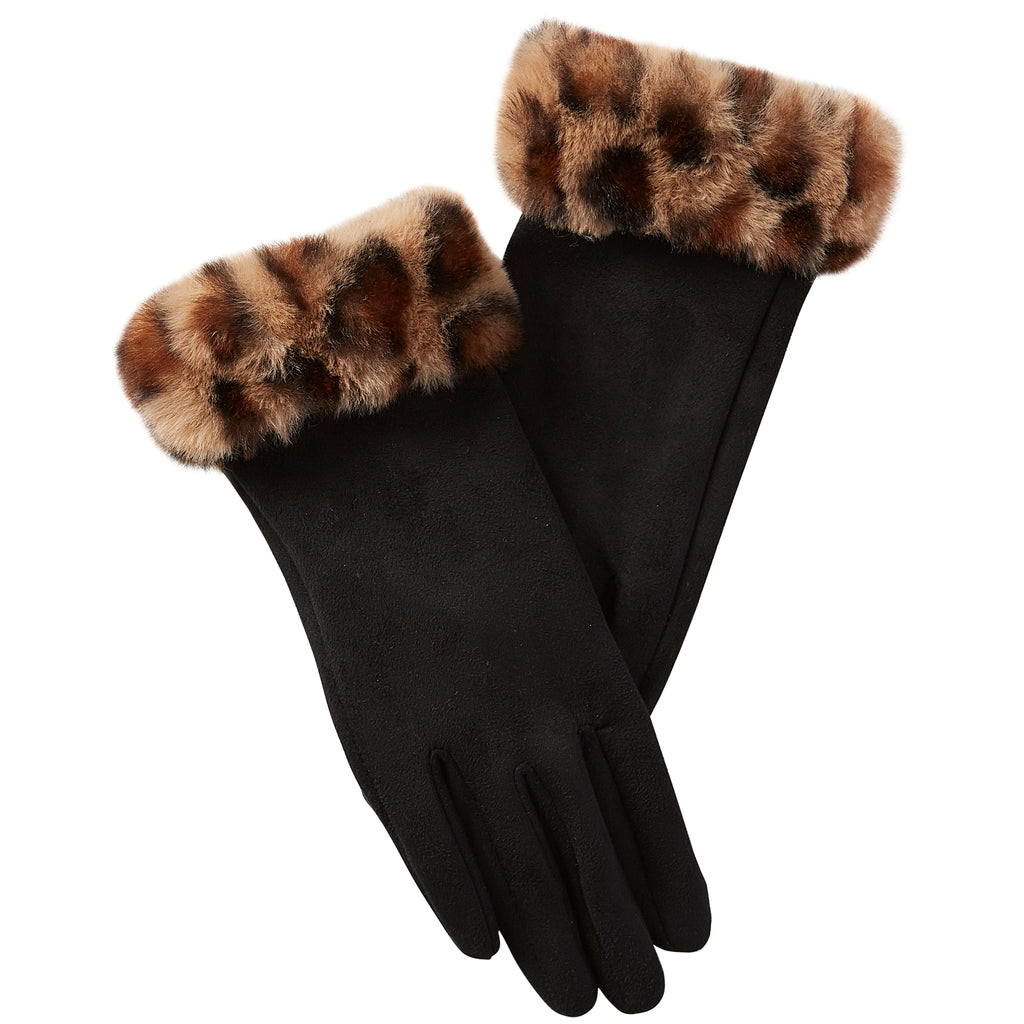 Leopard Fuzzy Gloves - Black - Tickled Pink Wholesale