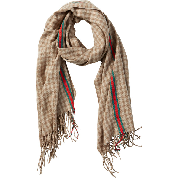 Beige Petite Check Fringe Scarf - Tickled Pink Wholesale