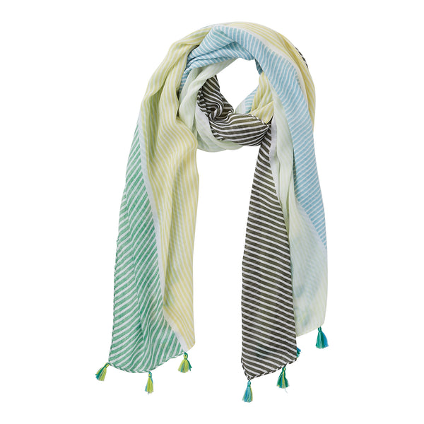 Wholesale Green & Blue Cali Stripes Scarf