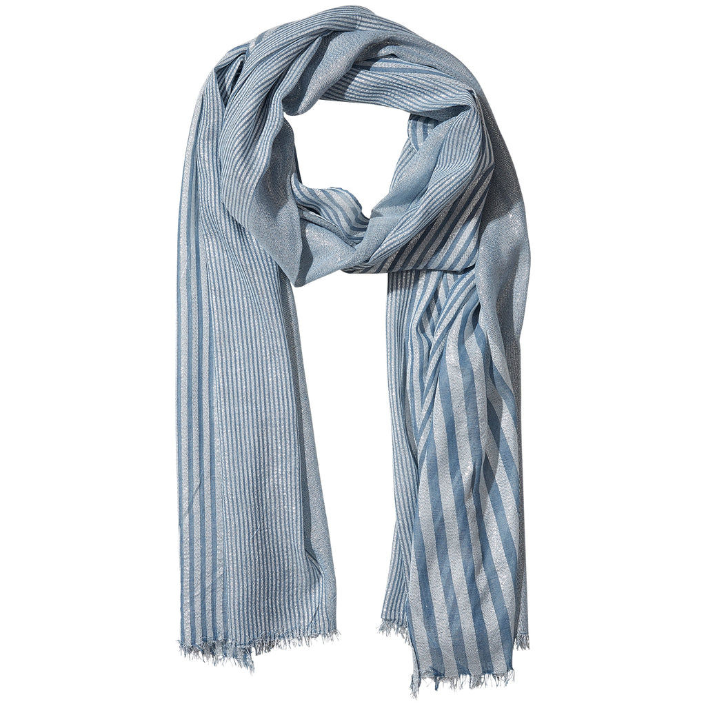 Teal Shimmer Stripe Scarf - Tickled Pink Wholesale