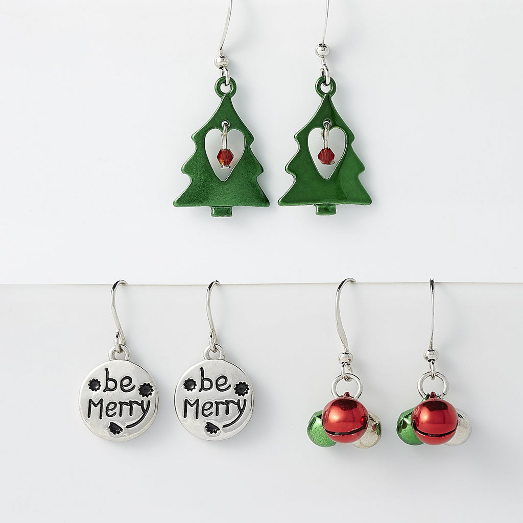 Christmas Earring Set Of 3 - Tickled Pink Wholesale