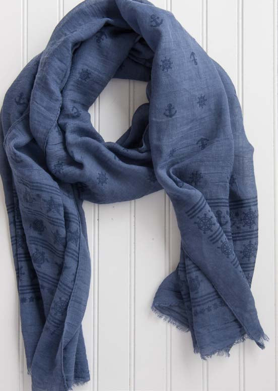 wholesale  Sea Stripes Scarf - Blue