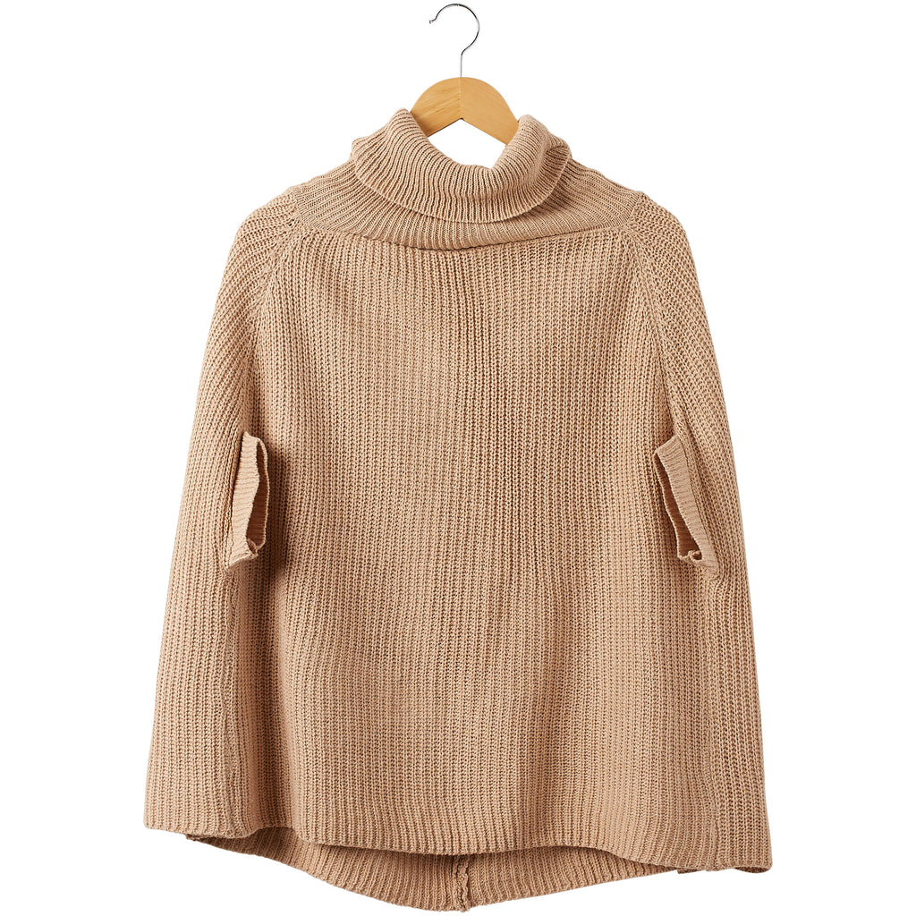Victoria Knit Poncho - Khaki - Tickled Pink Wholesale