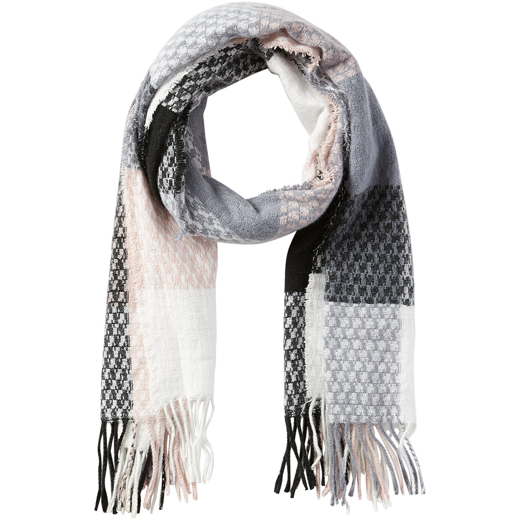 Oakley Plaid Fringe Scarf - Light Pink - Tickled Pink Wholesale