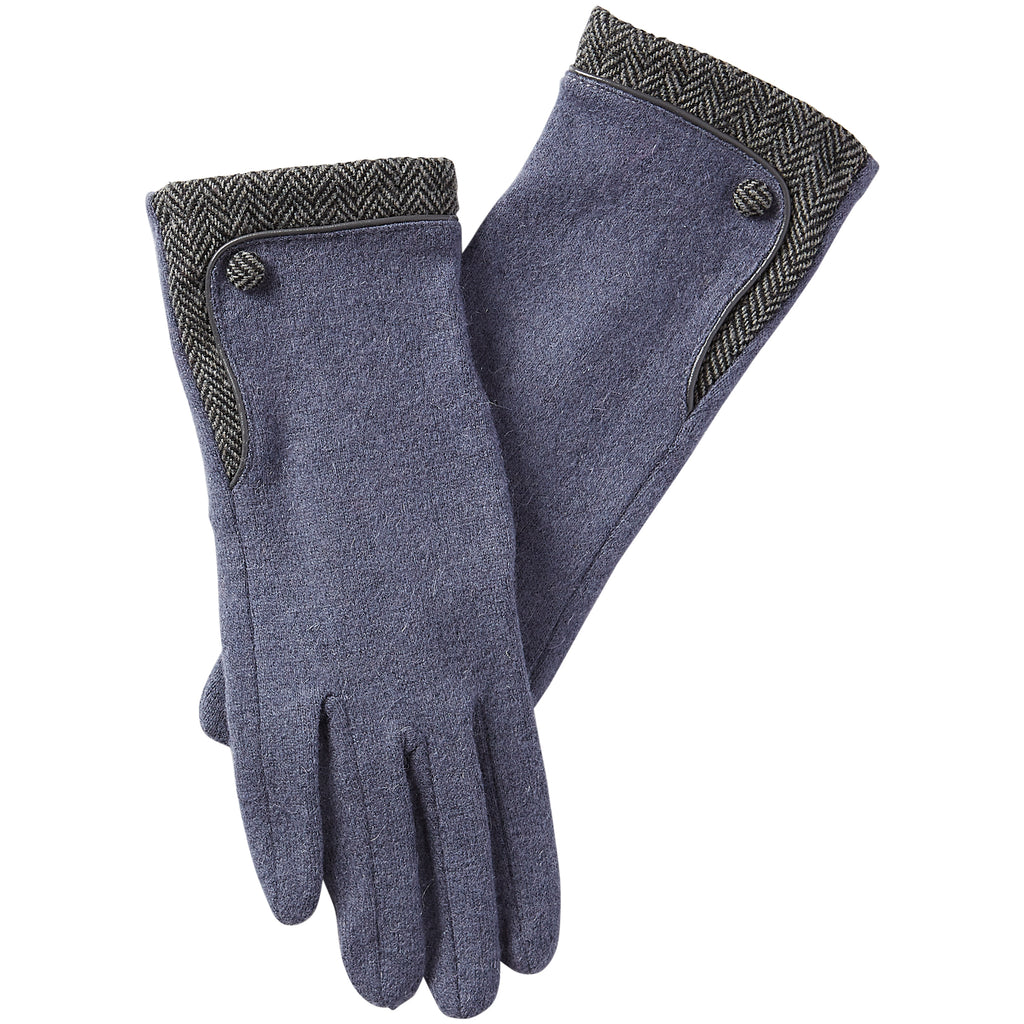 Herringbone Wool Gloves - Navy - Tickled Pink Wholesale