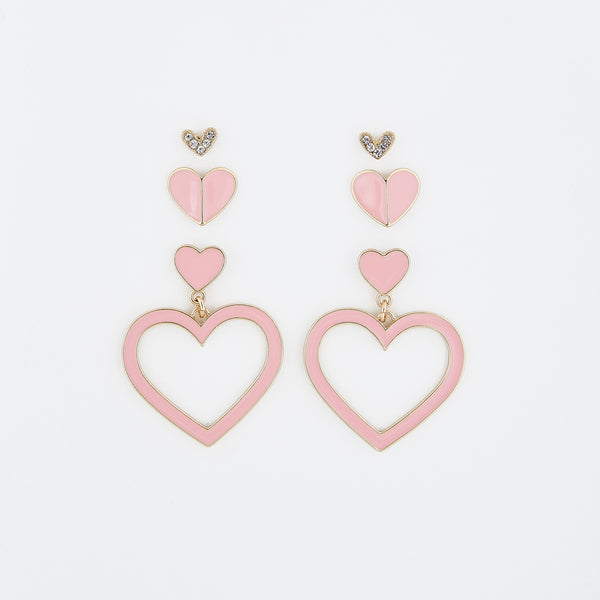 wholesale Pink Sweet Hearts Earring Set Of 3
