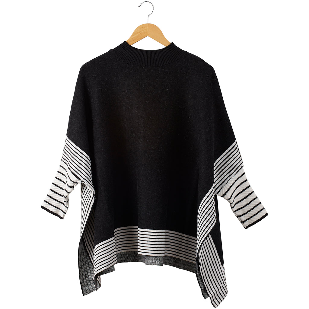 Eddie Stripe Poncho - Black - Tickled Pink Wholesale