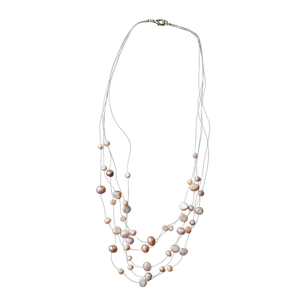 Champagne Pearl Illusion Necklace - Tickled Pink Wholesale