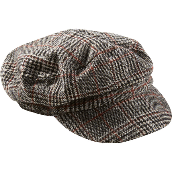 Black & White Scout Plaid Newsboy Cap - Tickled Pink Wholesale