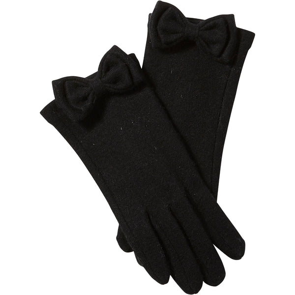 Black Harper Wool Bow Gloves