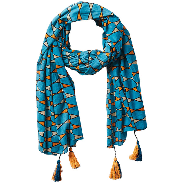 Wholesale Retro Tassel Scarf - Teal