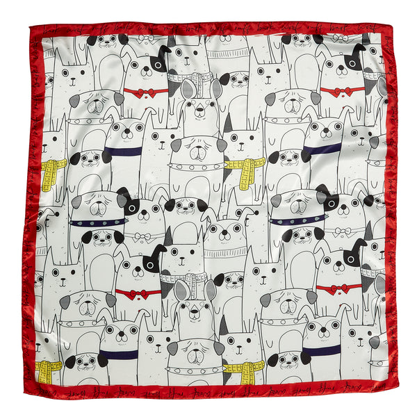 "Woof Pack Lola Square  Scarf Gift Set - 34"" x 34"" - Tickled Pink Wholesale"