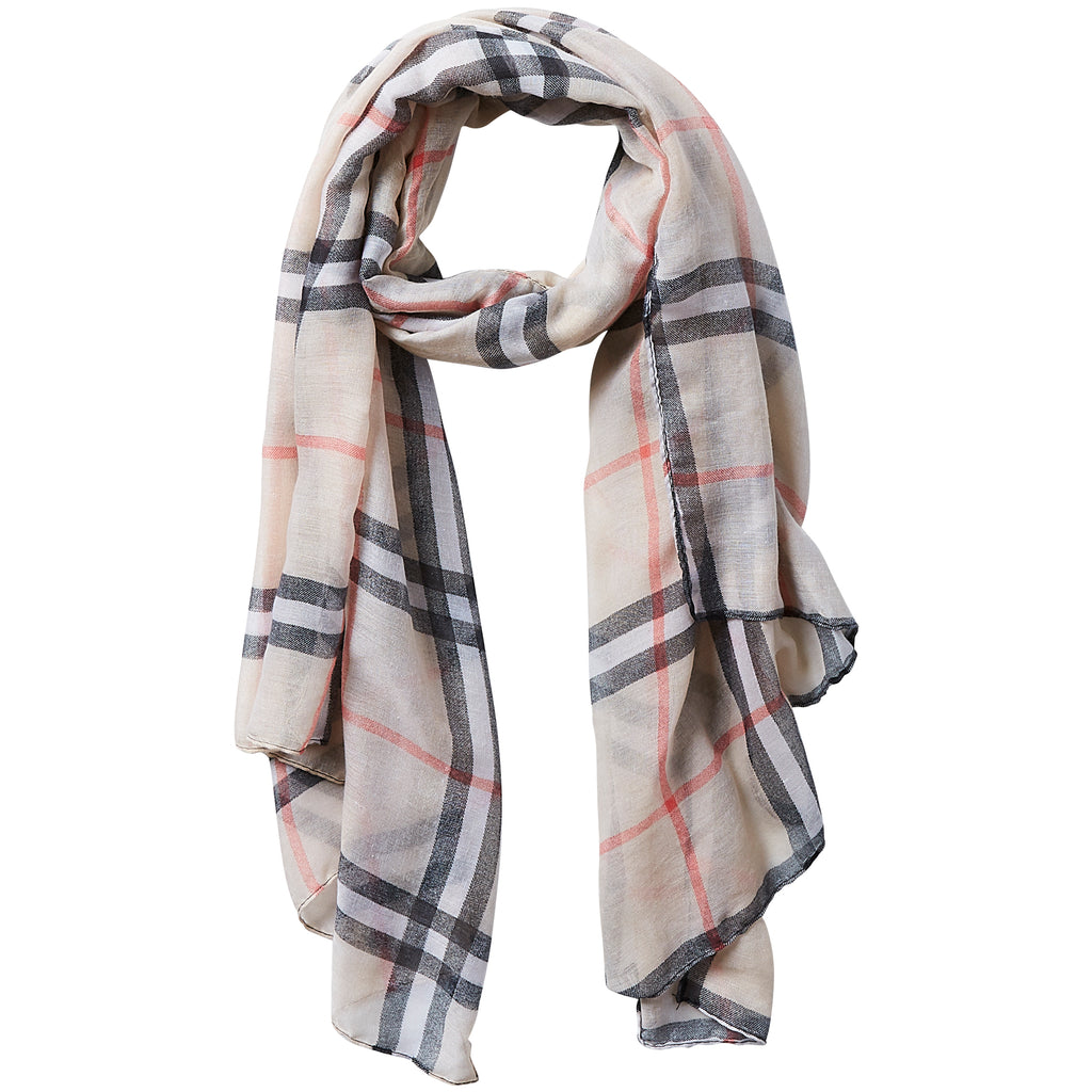 Preppy Lightweight Plaid Scarf - Beige - Tickled Pink Wholesale