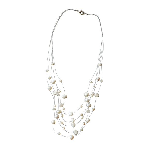 White Pearl Illusion Necklace - Tickled Pink Wholesale