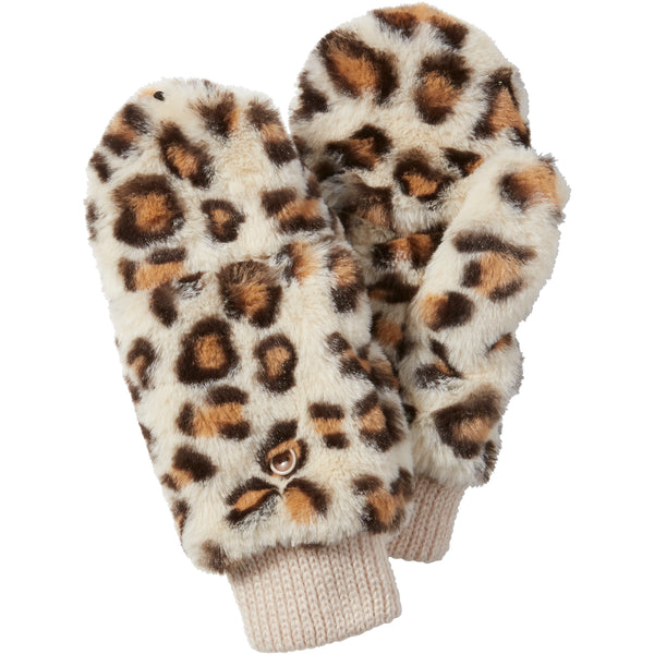 Ecru Stella Fuzzy Leopard Mittens - Tickled Pink Wholesale