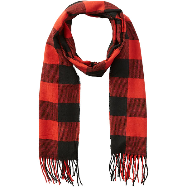 Buffalo Check Fringe Scarf - Red & Black - Tickled Pink Wholesale