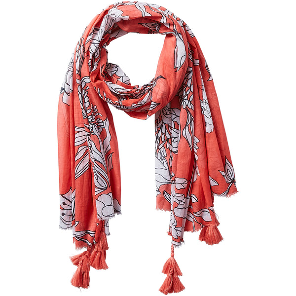 Dahlia Tassel Scarf - Coral - Tickled Pink Wholesale