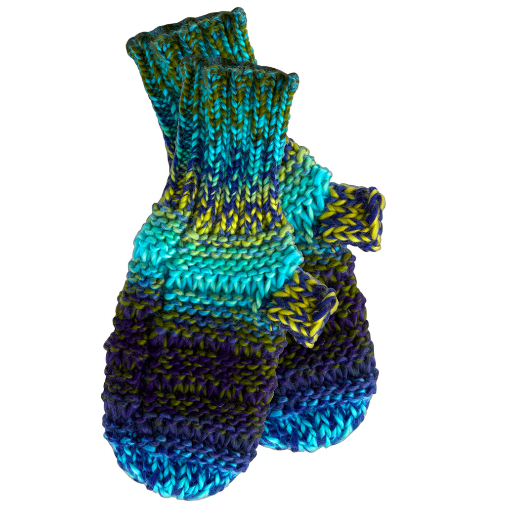 Ombre Knit Mittens - Blue & Green - Tickled Pink Wholesale