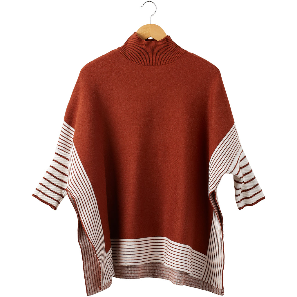 Eddie Stripe Poncho - Rust - Tickled Pink Wholesale