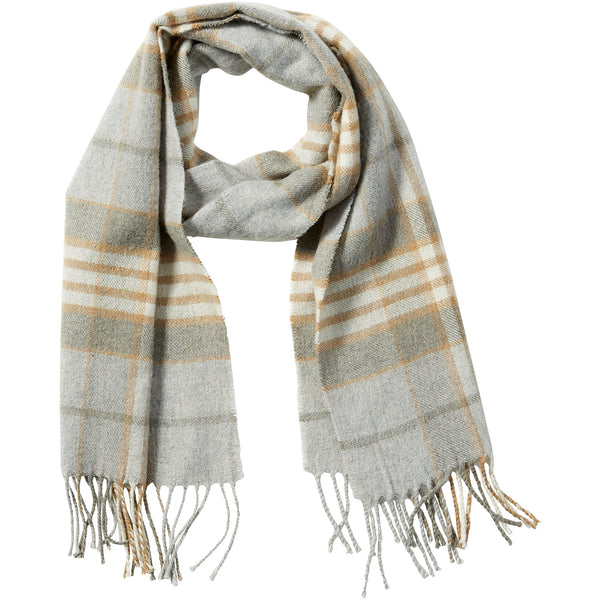 Gray Wool Plaid Fringe Scarf