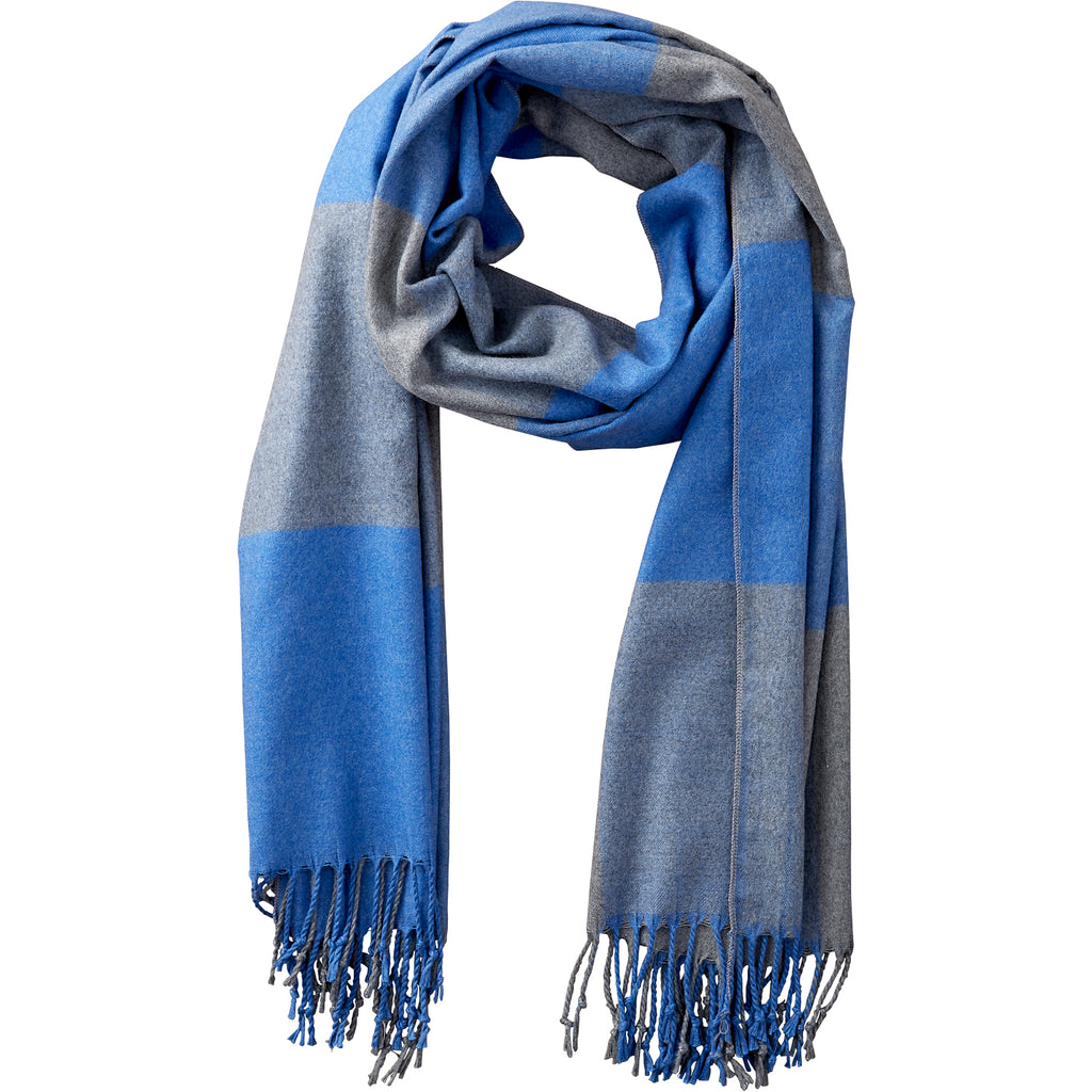 Blue & Gray Carter Wool Plaid Scarf - Tickled Pink Wholesale