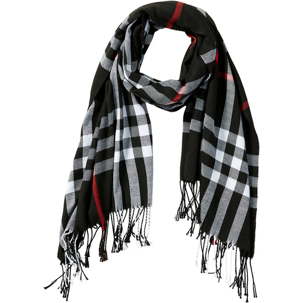 Black Regan Plaid Scarf - Tickled Pink Wholesale