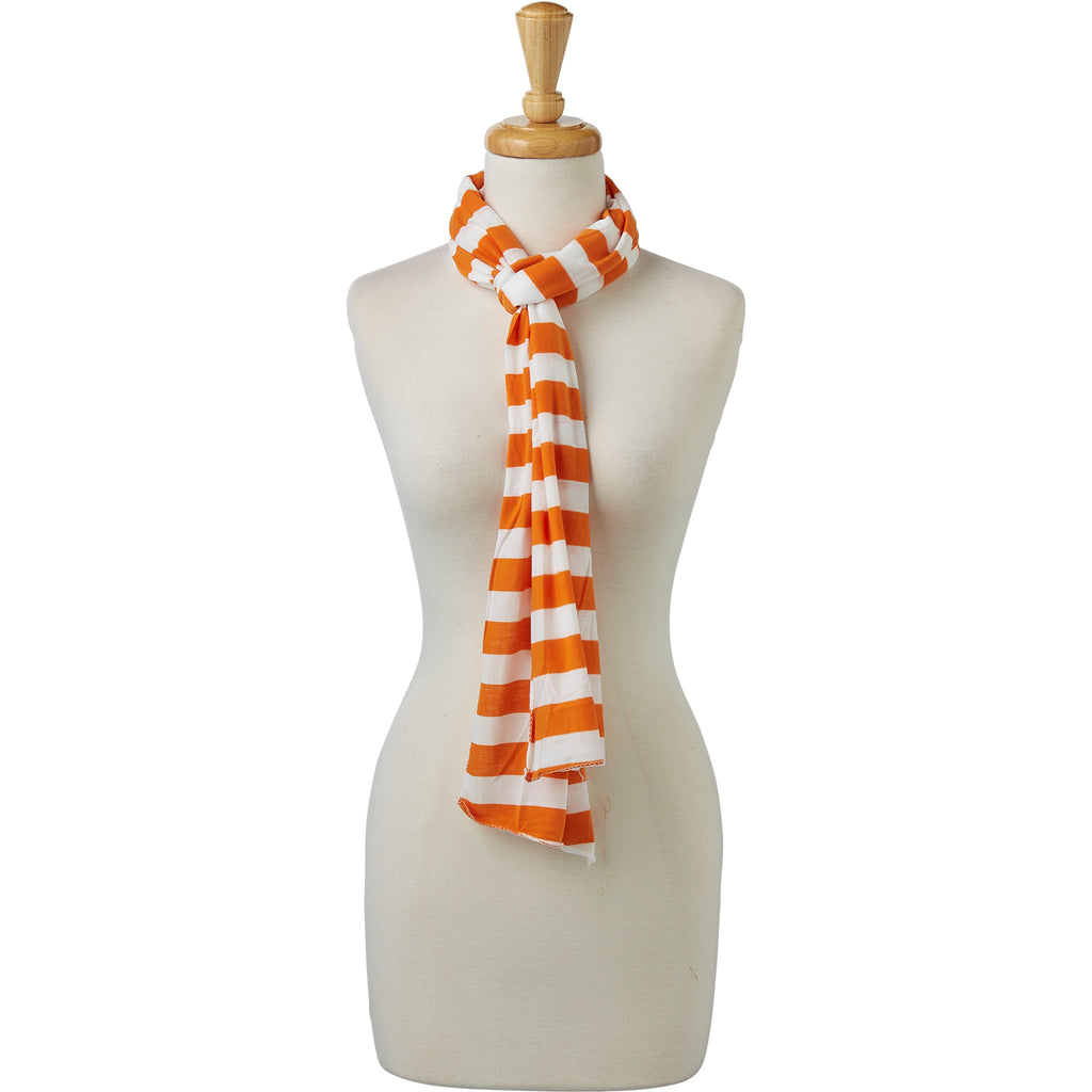 wholesale Jersey Striped Scarf - Orange/White