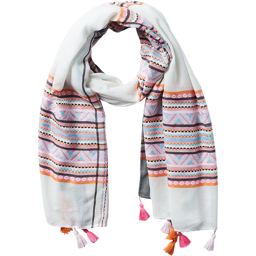 Aztec Plaid Tassel Scarf - White - Tickled Pink Wholesale