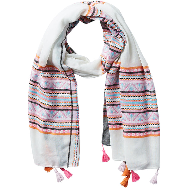 Wholesale Aztec Plaid Tassel Scarf - White