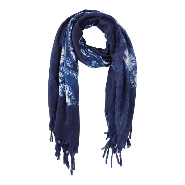 Wholesale Lattice Indigo Kaleidoscope Scarf