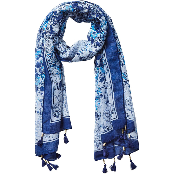 Wholesale Jacobean Scarf - Indigo
