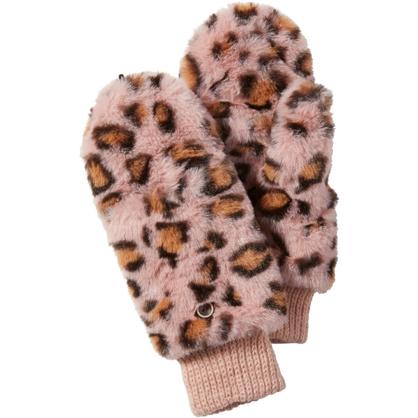 Pink Stella Fuzzy Leopard Mittens - Tickled Pink Wholesale