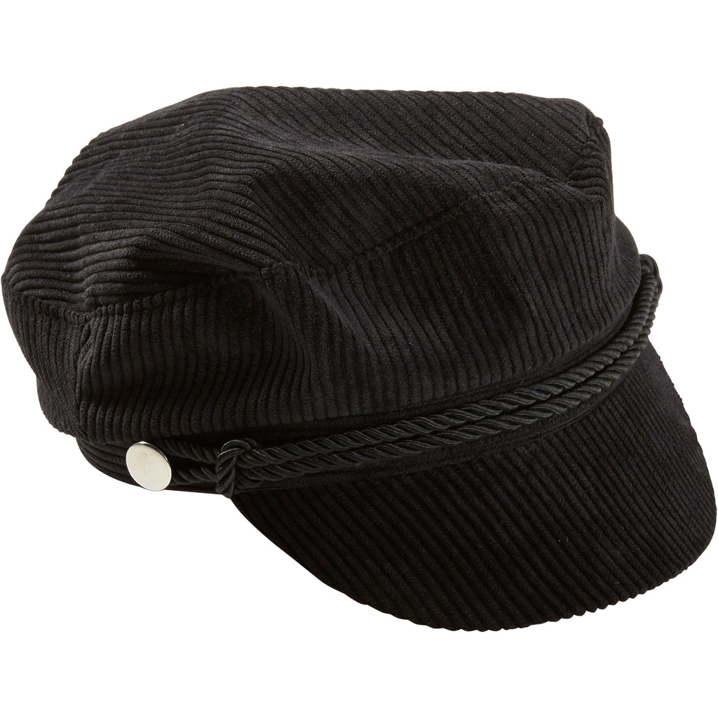 Black Corduroy Newsboy Cap - Tickled Pink Wholesale