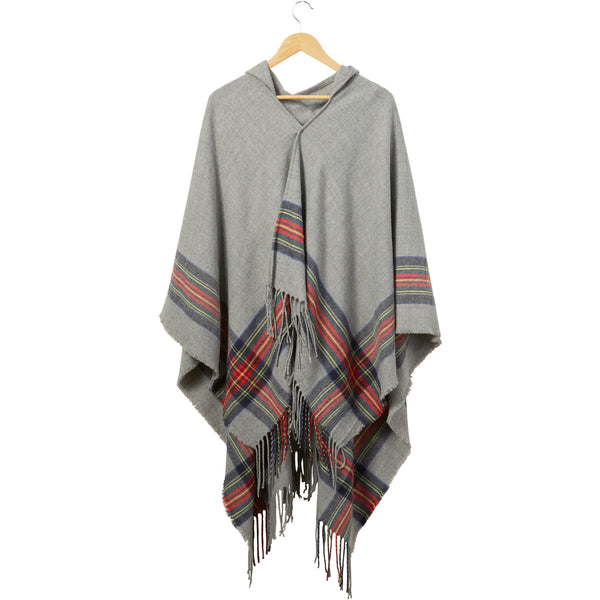 Gray Hooded Tartan Plaid Ruana - Tickled Pink Wholesale