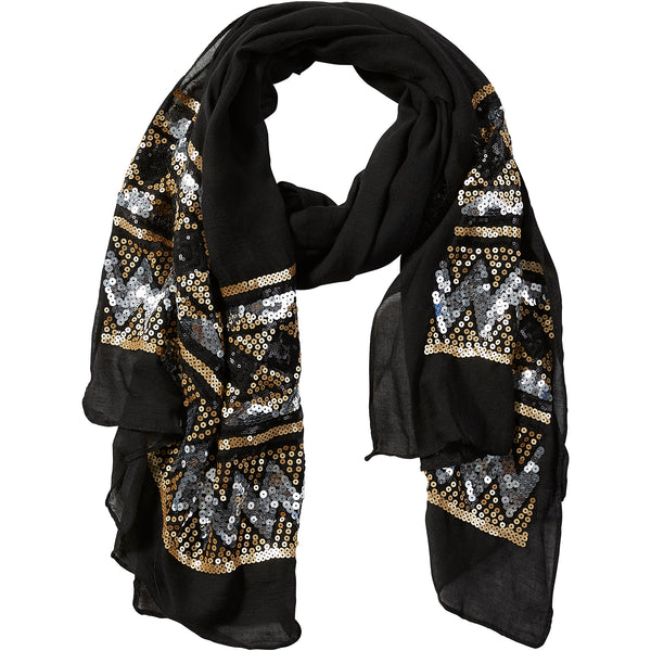 Black Eleanor Sequin Scarf - Tickled Pink Wholesale