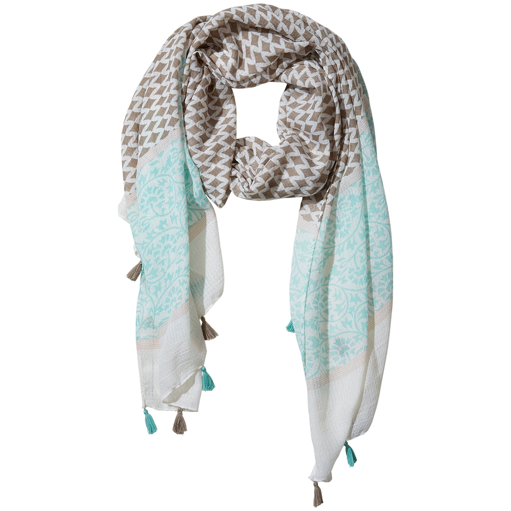 Teal & Gray Diamond Fringe Scarf - Tickled Pink Wholesale