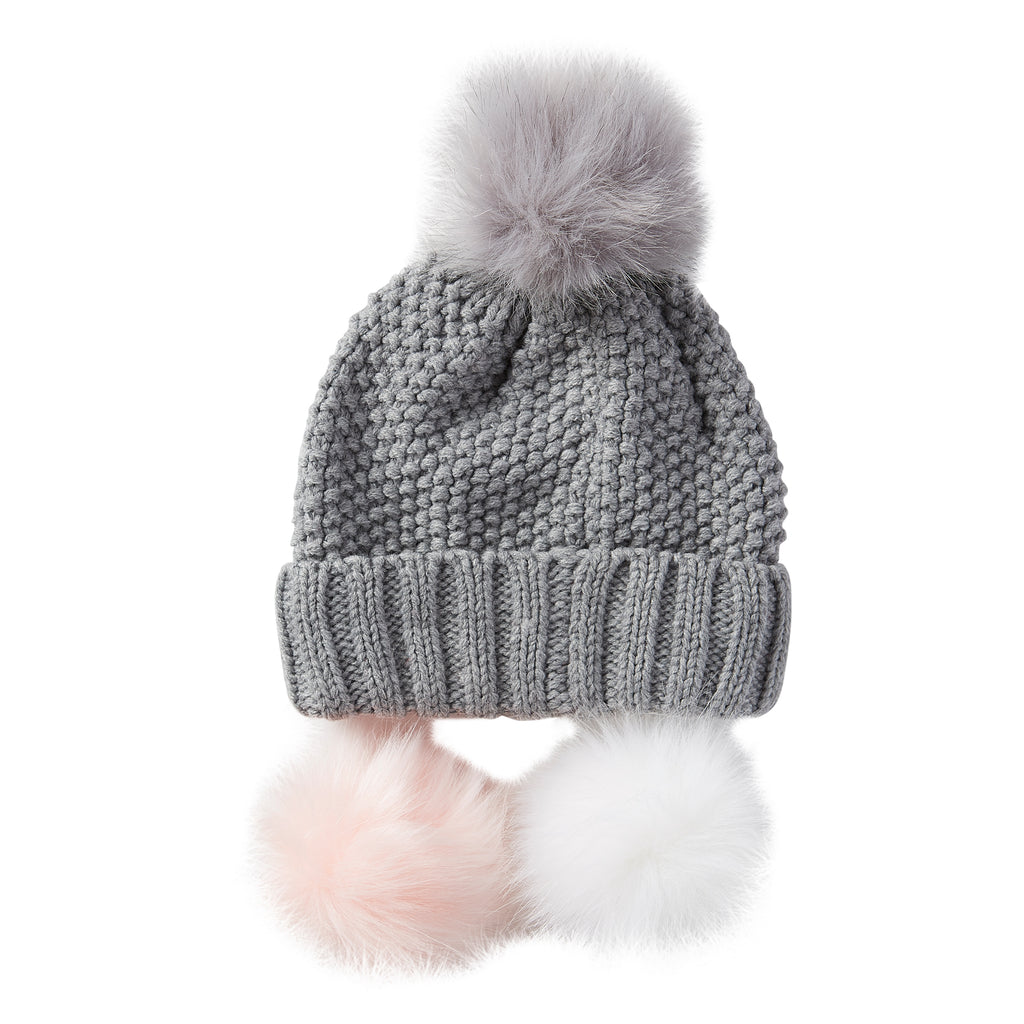 Snap On Pom Pom Beanie - Gray - Tickled Pink Wholesale
