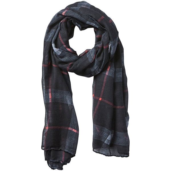 Preppy Lightweight Plaid Scarf - Black - Tickled Pink Wholesale