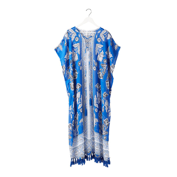 Wholesale Indigo Fringe Pool Side Kaftan