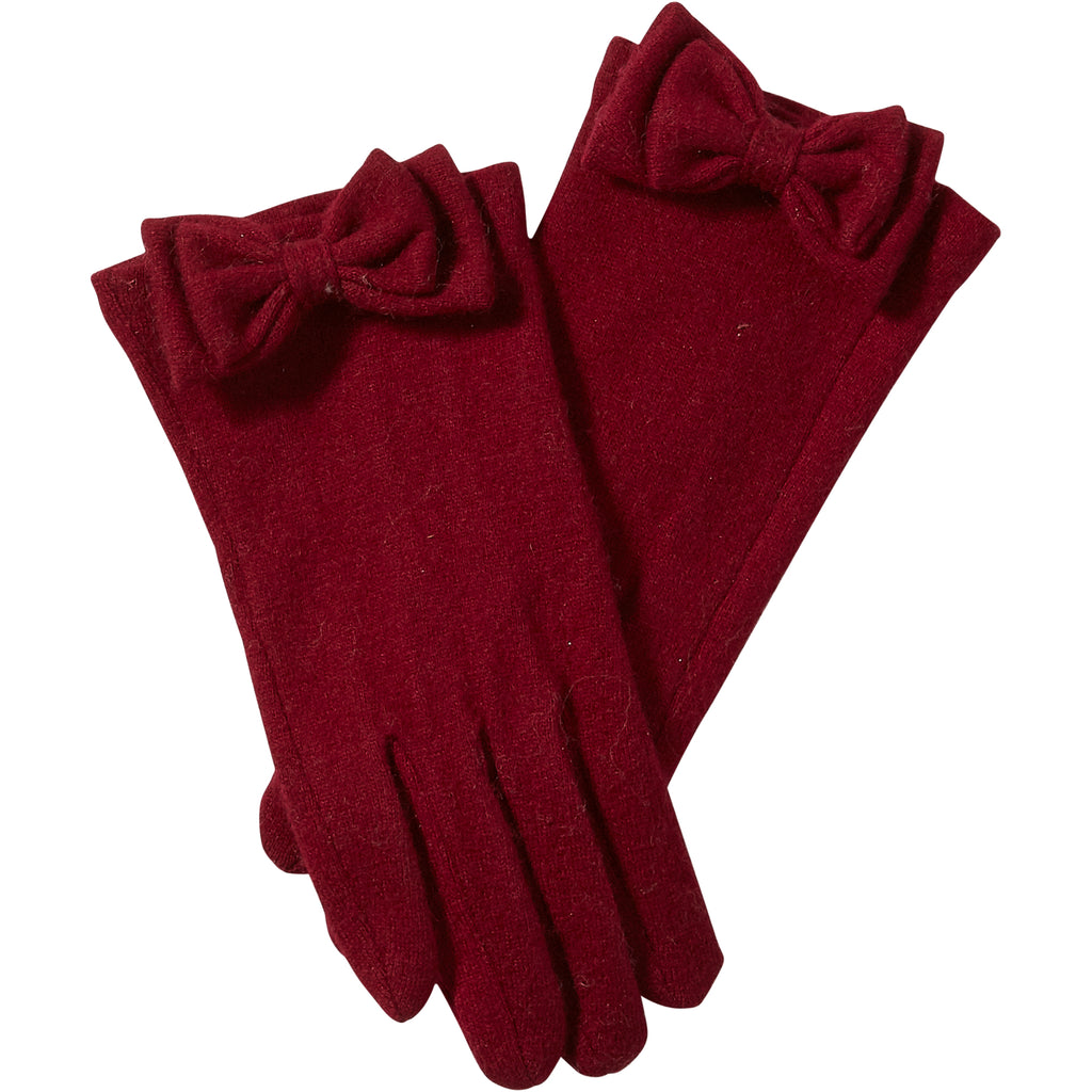Burgundy Harper Wool Bow Gloves - Tickled Pink Wholesale