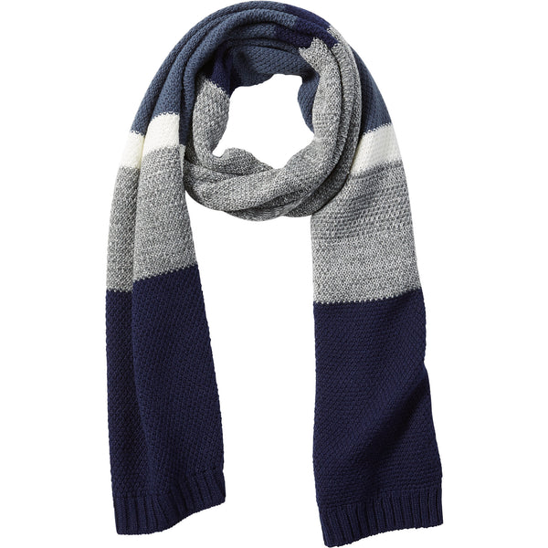 Navy Willa Colorblock Cableknit Scarf