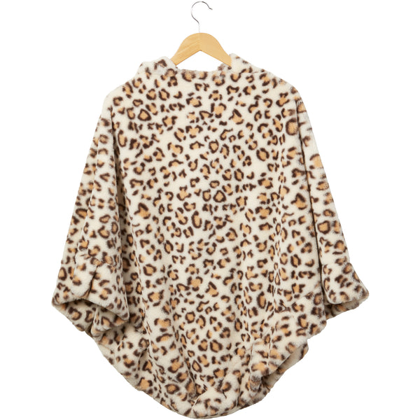 Ecru Stella Fuzzy Leopard Poncho - Tickled Pink Wholesale