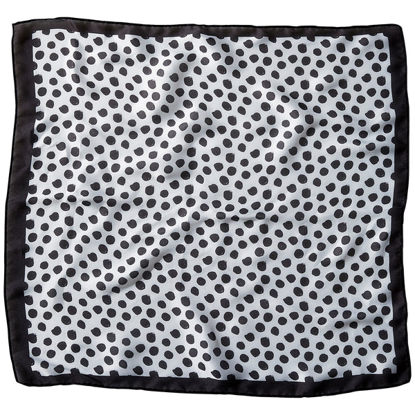 "Black Polkadots Lola Square Scarf - 21.5"" x 21.5"" - Tickled Pink Wholesale"