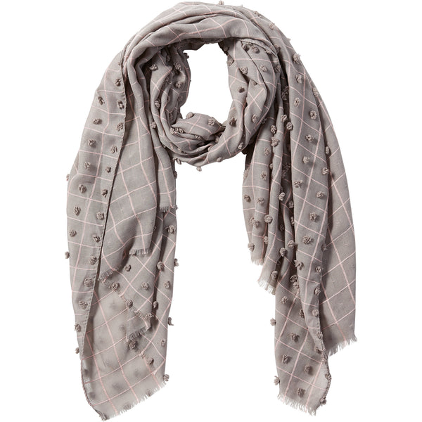 Gray Knotted Squares Scarf - Tickled Pink Wholesale