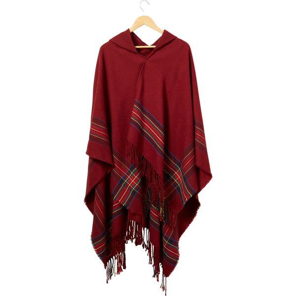 Garnet Hooded Tartan Plaid Ruana