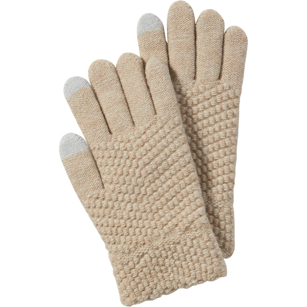 Beige Anna Texting Knit Gloves - Tickled Pink Wholesale