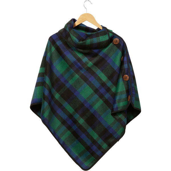 Spruce Patrick Plaid Button Poncho - Tickled Pink Wholesale