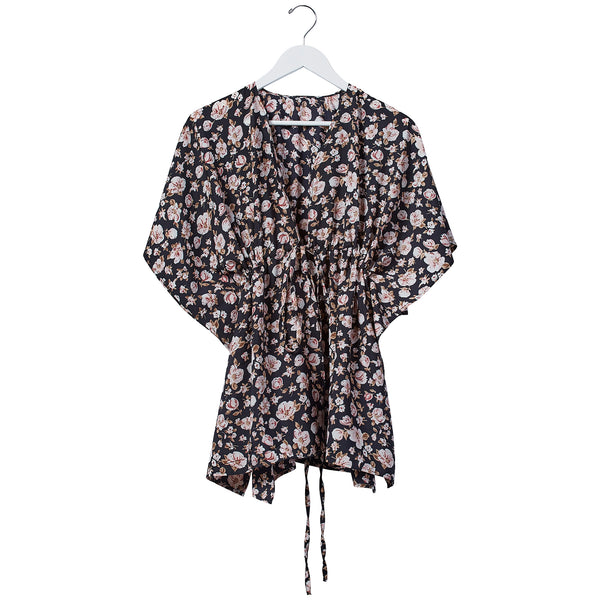 Wholesale Babydoll Tie Tunic - Midnight Floral