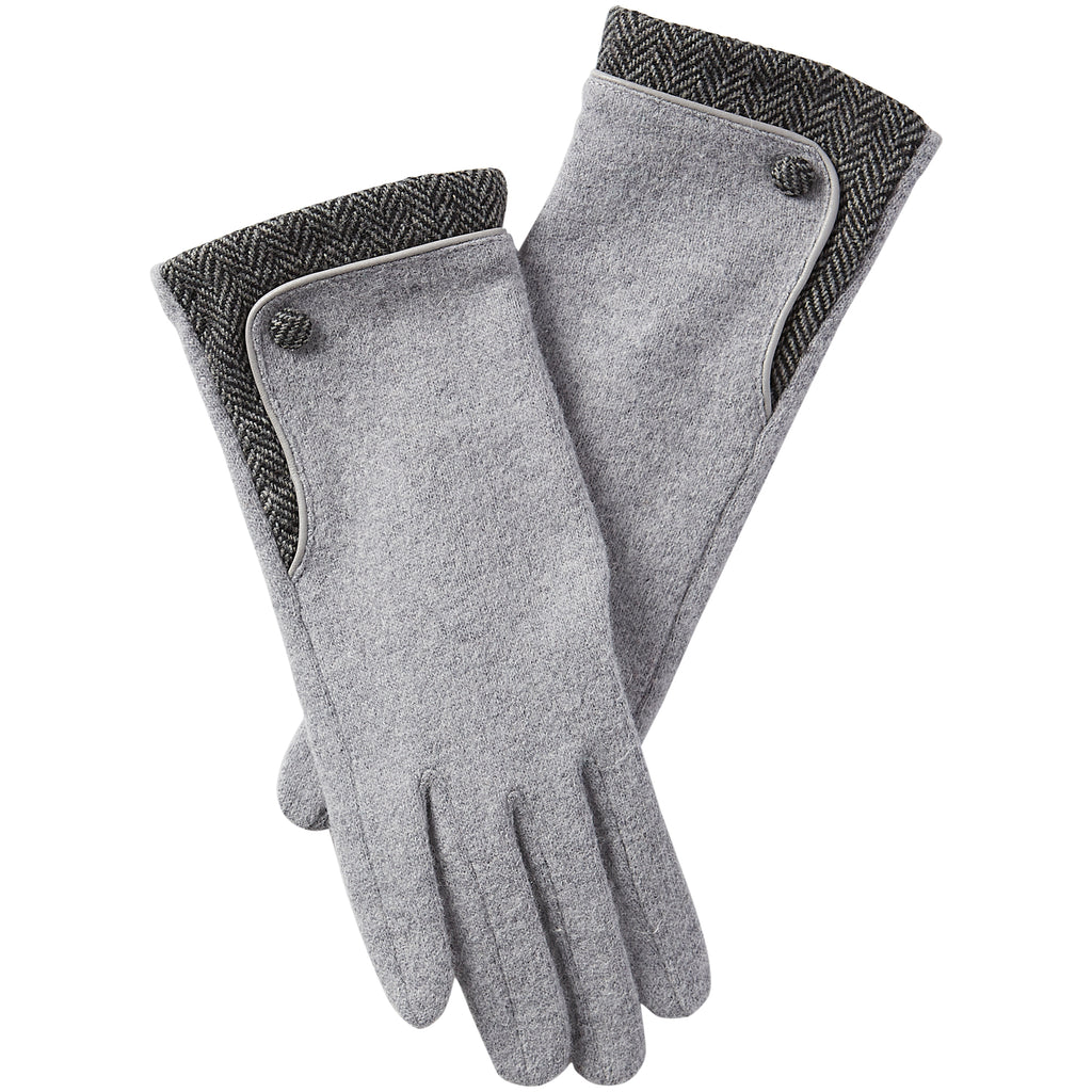 Herringbone Wool Gloves - Gray - Tickled Pink Wholesale