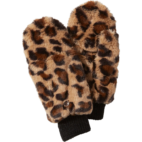 Tawny Stella Fuzzy Leopard Mittens - Tickled Pink Wholesale